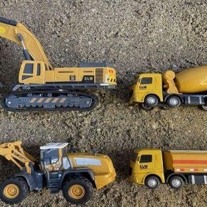 Đồ chơi Xe tải xây dựng đi tìm và cứu hộ các thiết bị nặng ở cát